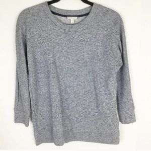 Joie blue mottled crew 3/4 soft sweatshirt fleece
